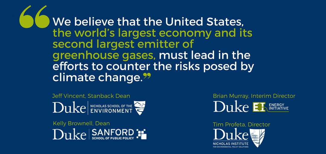 We believe that the United States, the world's largest economy and its second largets emitter of greenhouse gases, must lead in teh efforst to counter the risks posed by climate change