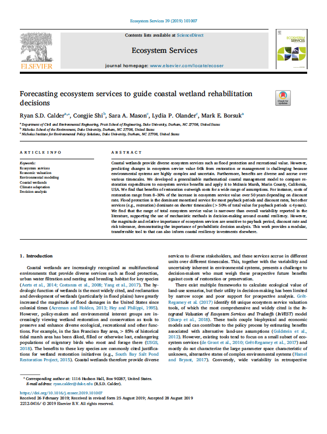 Forecasting Ecosystem Services to Guide Coastal Wetland Rehabilitation Decisions cover