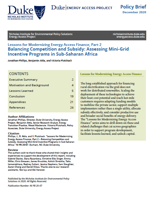 Lessons for Modernizing Energy Access Finance, Part 2 – Balancing Competition and Subsidy: Assessing Mini-Grid Incentive Programs in Sub-Saharan Africa Cover