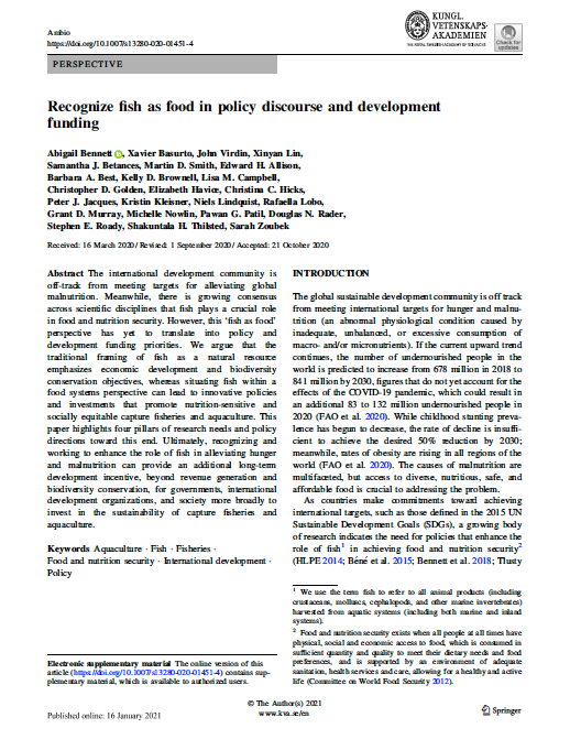 Recognize fish as food in policy discourse and development funding cover