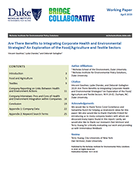 Are There Benefits to Integrating Corporate Health and Environmental  Strategies? An Exploration of the Food/Agriculture and Textile Sectors cover