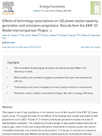 Effects of Technology Assumptions on US Power Sector