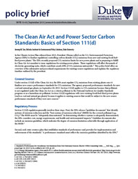 The Clean Air Act and Power Sector Carbon Standards: Basics of Section 111(d)