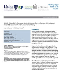 "British Columbia's Revenue-Neutral Carbon Tax: A Review of the Latest ""Grand Experiment"" in Environmental Policy"