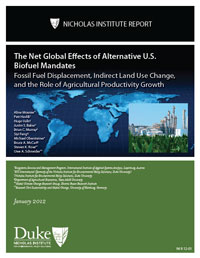 The Net Global Effects of Alternative U.S. Biofuel Mandates: Fossil Fuel Displacement, Indirect Land Use Change, and the Role of Agricultural Productivity Growth