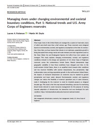 Managing Rivers Under Changing Environmental and Societal Boundary Conditions, Part 1: National Trends and u.s. Army Corps of Engineers Reservoirs