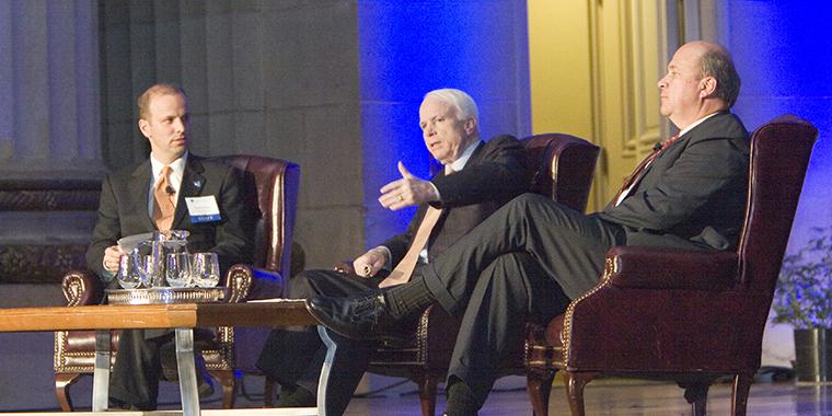John McCain and Tim Profeta, 2006, credit Judy Rolfe
