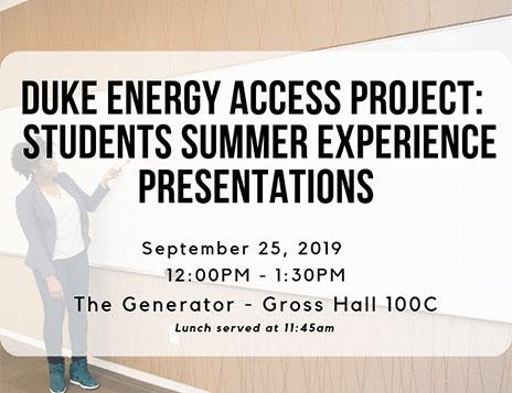Duke Energy Access Project: Students Summer Experience Presentations